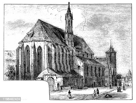 Illustration of a Franciscan Church ,Rothenburg - famous town in Bavaria, Germany