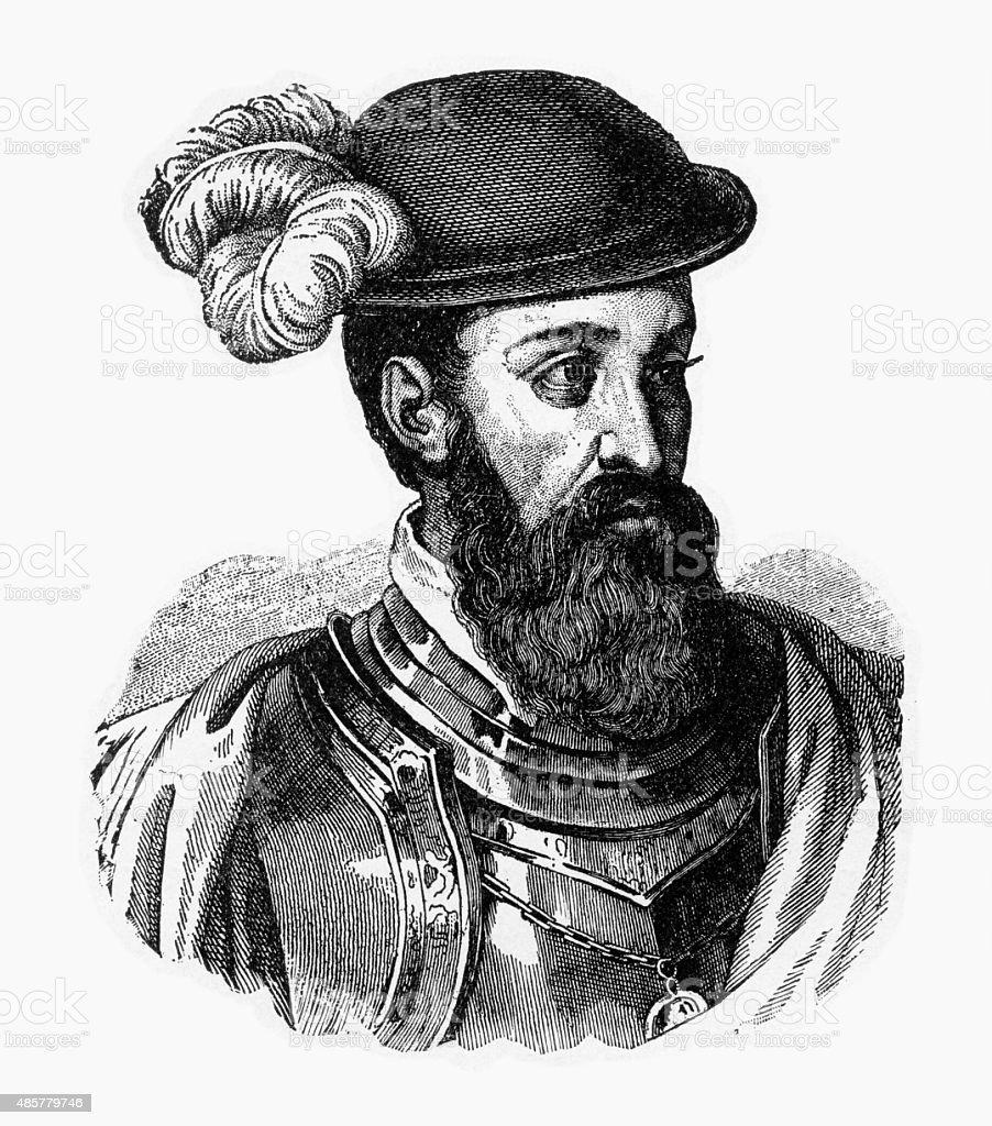 Francisco Pizarro, 1471-1541, Engraving vector art illustration
