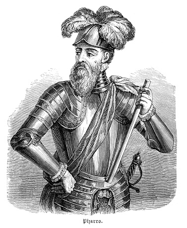 Francisco Pizarro González (  c.1471 - 26.June 1541 ) was a Spanish conquistador who led an expedition that conquered the Inca Empire. Original edition from my own archives Source : Illustrierte Geschichte 1882