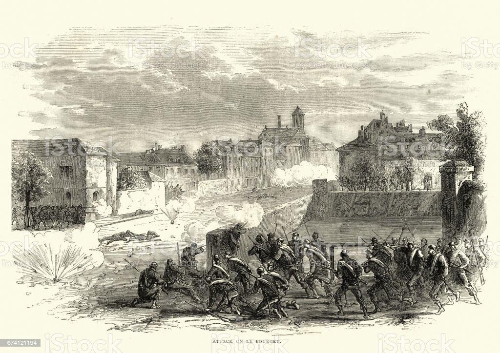 佛朗哥普魯士人的戰爭-巴黎布林歇遇襲 免版稅 佛朗哥普魯士人的戰爭巴黎布林歇遇襲 向量插圖及更多 1870-1879 圖片