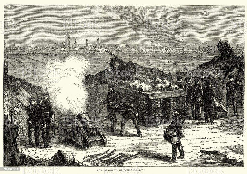 Bombardement prussien guerre franco de Selestat - Illustration vectorielle