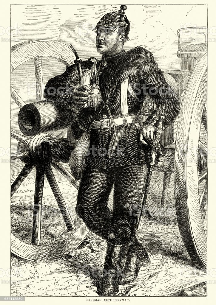 Franco Prussian War - Prussian Arilleryman royalty-free franco prussian war prussian arilleryman stock vector art & more images of 1870-1879