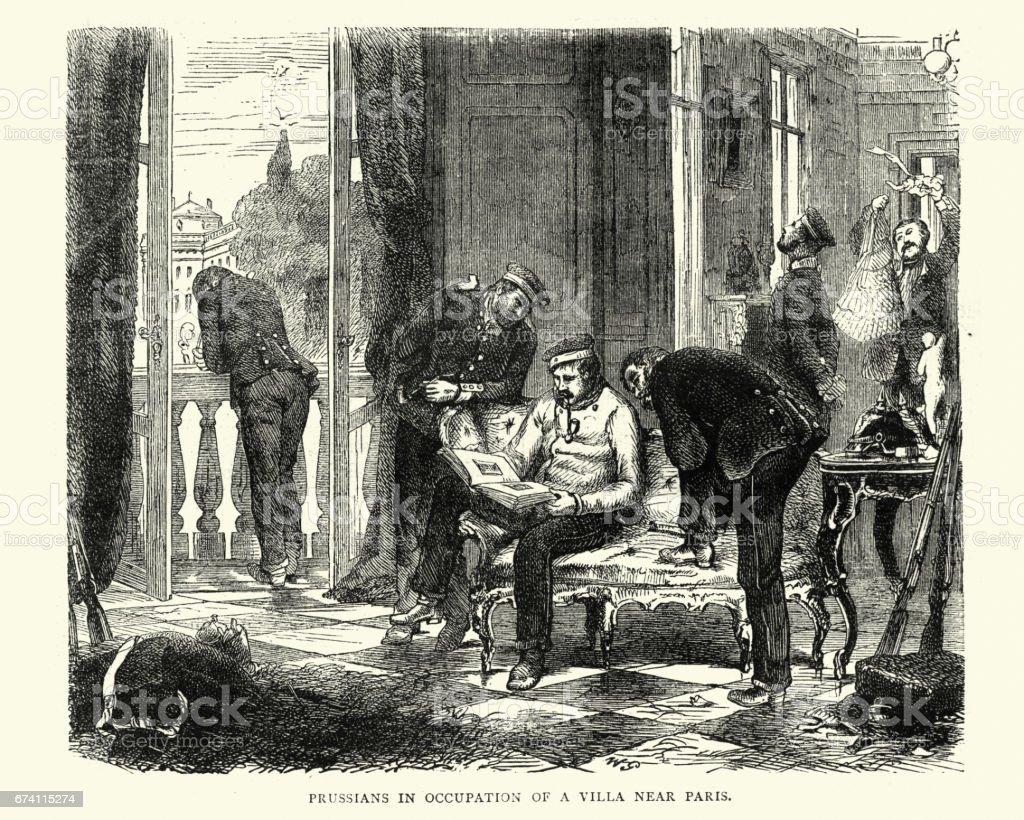 Franco Prussian War - Prussians occuping a Villa near Paris 免版稅 franco prussian war prussians occuping a villa near paris 向量插圖及更多 1870-1879 圖片