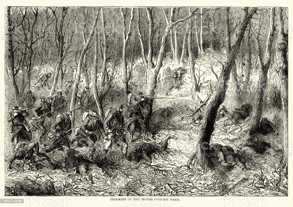 佛朗哥普魯士人的戰爭-巴黎郊外的樹林中的小衝突 免版稅 佛朗哥普魯士人的戰爭巴黎郊外的樹林中的小衝突 向量插圖及更多 1870-1879 圖片