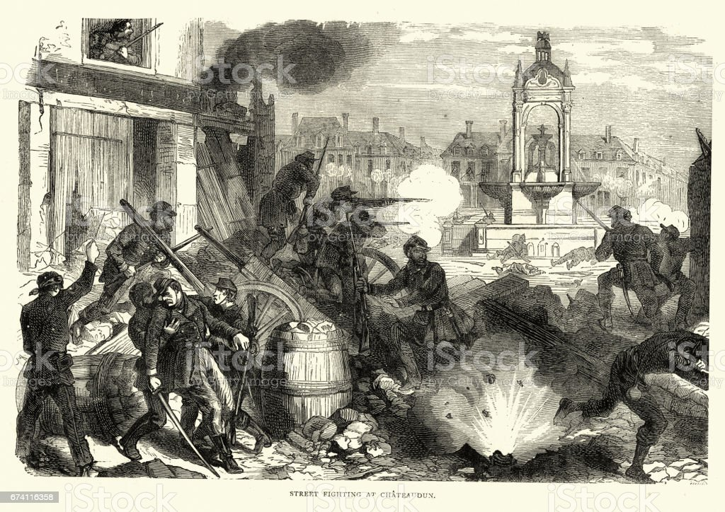 Franco Prussian War - Street fighting at Chateaudun, France royalty-free franco prussian war street fighting at chateaudun france stock vector art & more images of 1870-1879