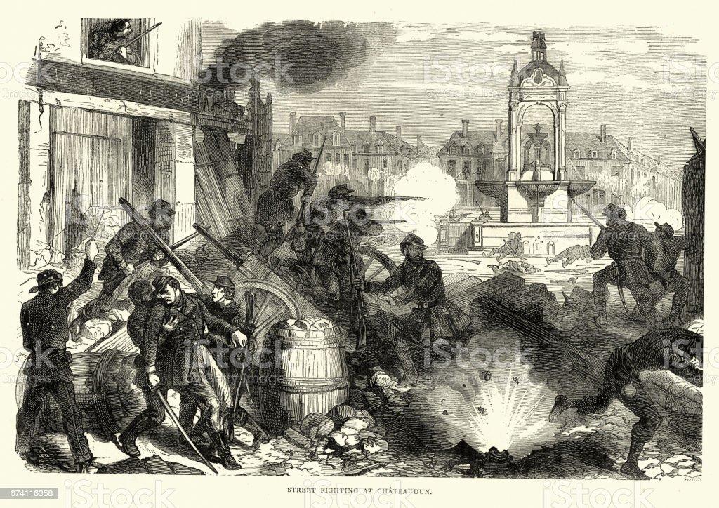 佛朗哥普魯士人的戰爭-Chateaudun,法國所使用的巷戰 免版稅 佛朗哥普魯士人的戰爭chateaudun法國所使用的巷戰 向量插圖及更多 1870-1879 圖片