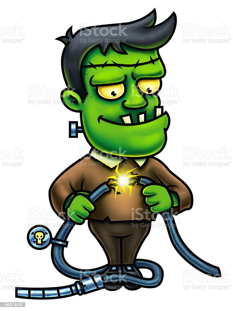 Frankenstein Cartoon Character Digital Painting vector art illustration