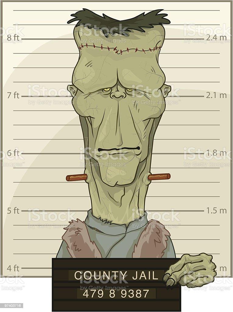 Frankenstein's Monster Mug Shot  Anger stock vector