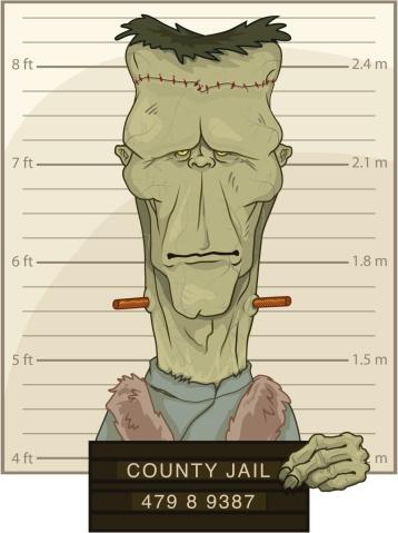 Frankensteins Monster Mug Shot Stock Illustration - Download Image Now