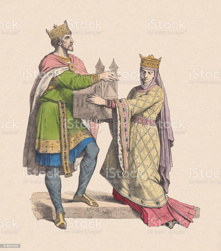 Frankish King and Queen, 10th century, hand-colored woodcut, published c.1880 vector art illustration