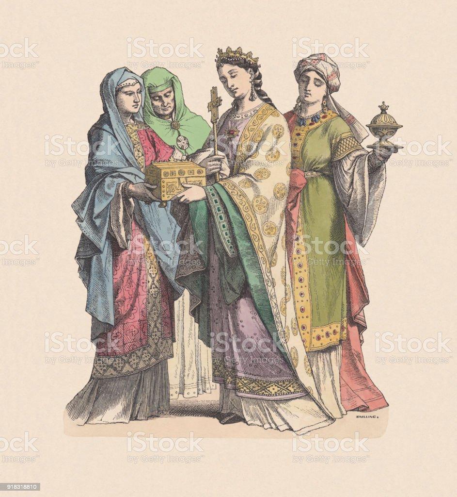 フランク族の貴婦人10 世紀手彩色木版 Puplished C 1880 - 10世紀ごろ ...