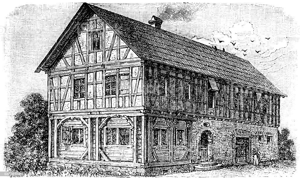 Frankish - Thuringian farmhouse vector art illustration