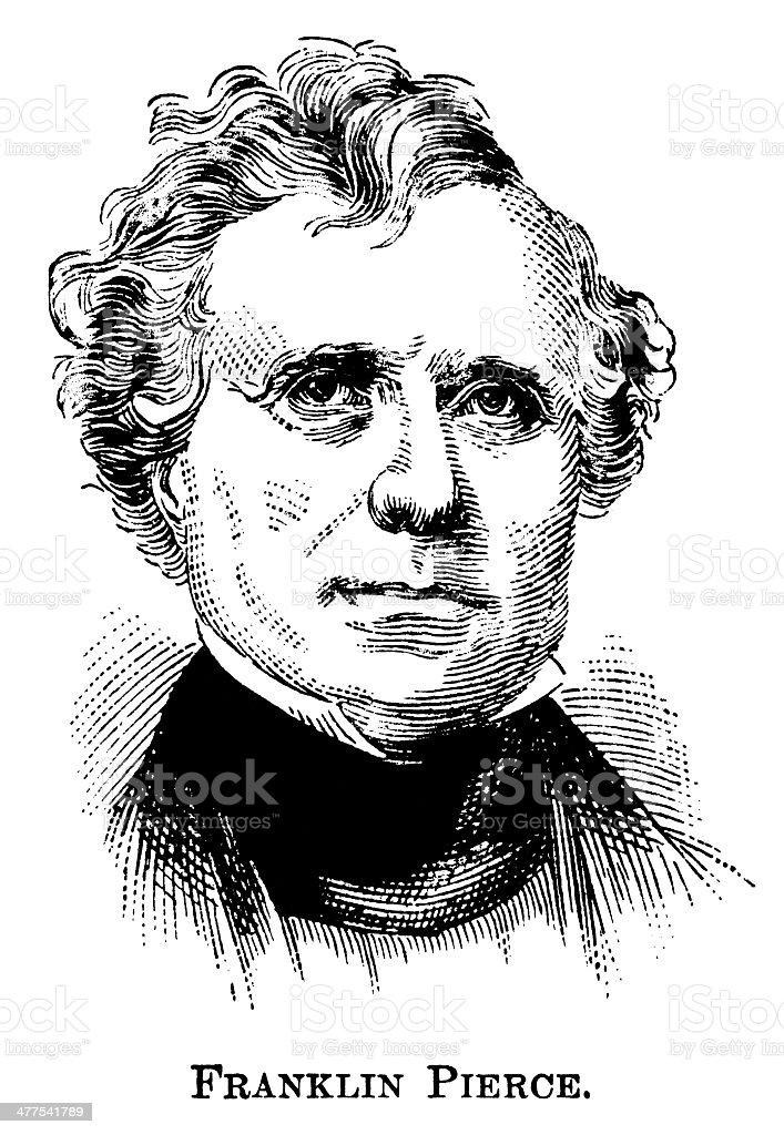 Franklin Pierce - Antique Engraved Portrait vector art illustration