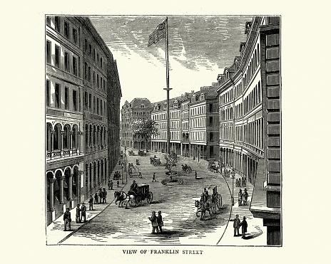 Vintage illustration of Franklin Street, Boston, USA, 1872, Victorian American architecture 19th Century
