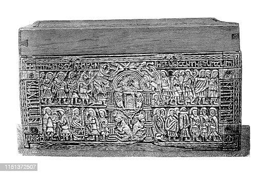 Illustration of the Franks Casket ,Auzon Casket ,Back Panel ,capture of Jerusalem in AD 70 by the Roman general, later emperor, Titus