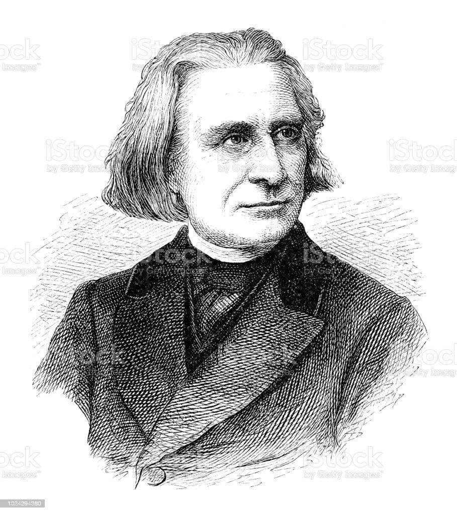 Franz Liszt Ungarische Komponist und Musiker – Vektorgrafik