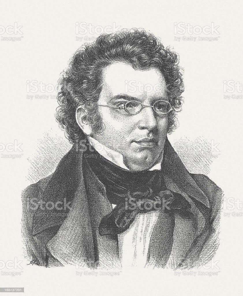 Franz Schubert (1797-1828), Austrian composer, wood engraving, published in 1882 vector art illustration