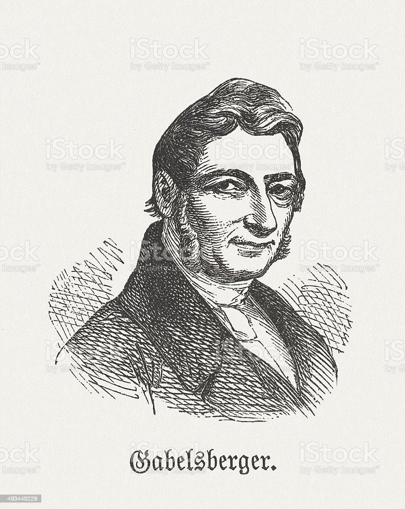 Franz Xaver Gabelsberger (1789-1849), German inventor of shorthand writing system vector art illustration