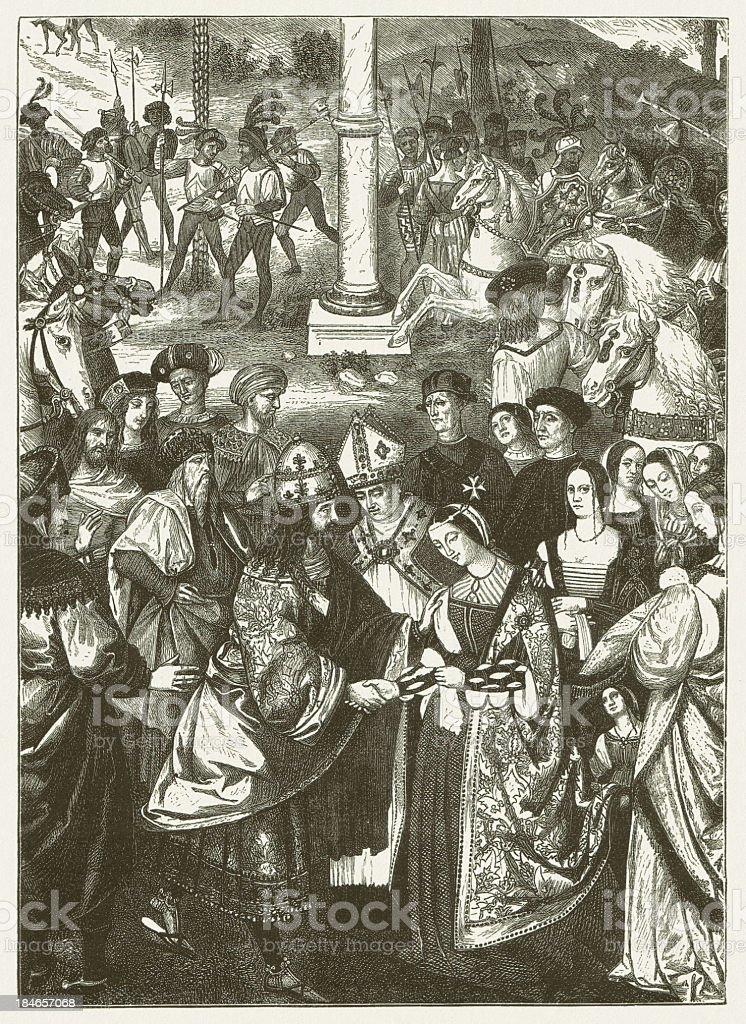Frederick and Eleonore vector art illustration