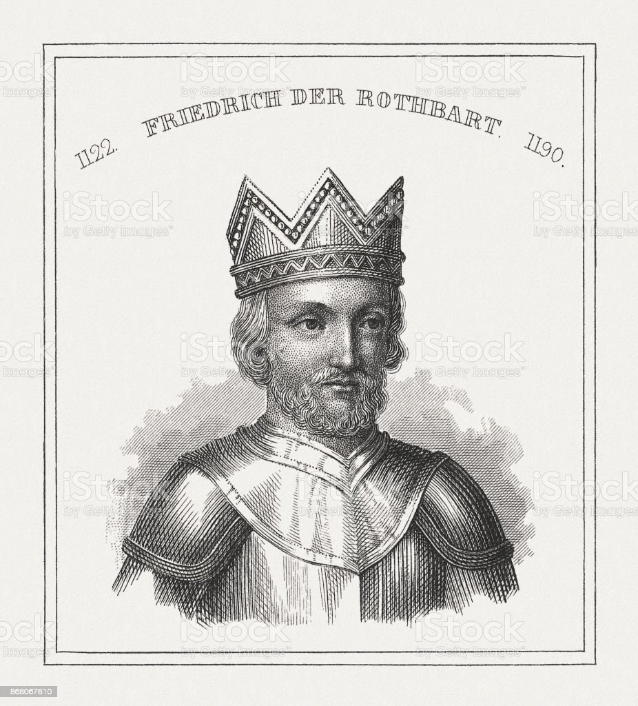 Frederick Barbarossa (c.1122-1190), Holy Roman Emperor, steel engraving, published 1843 vector art illustration