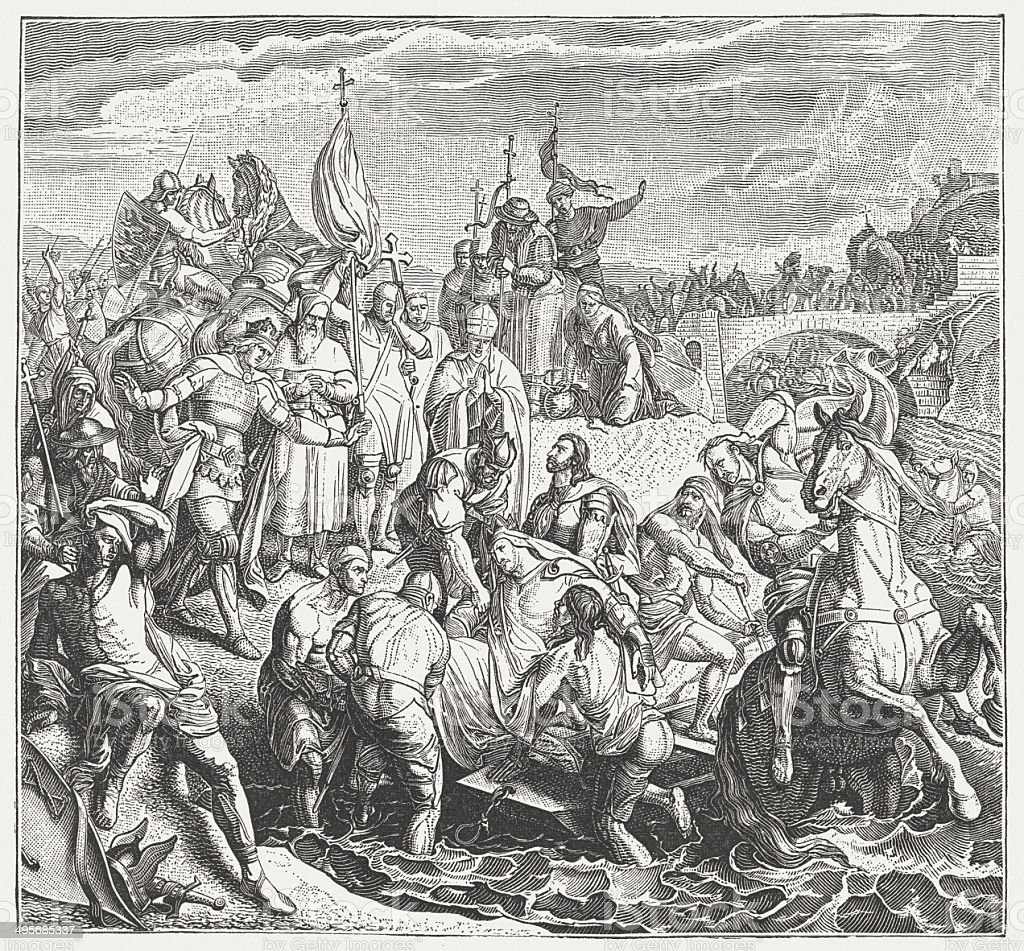 Frederick Barbarossa's death in the floods of Saleph, 1190 royalty-free stock vector art