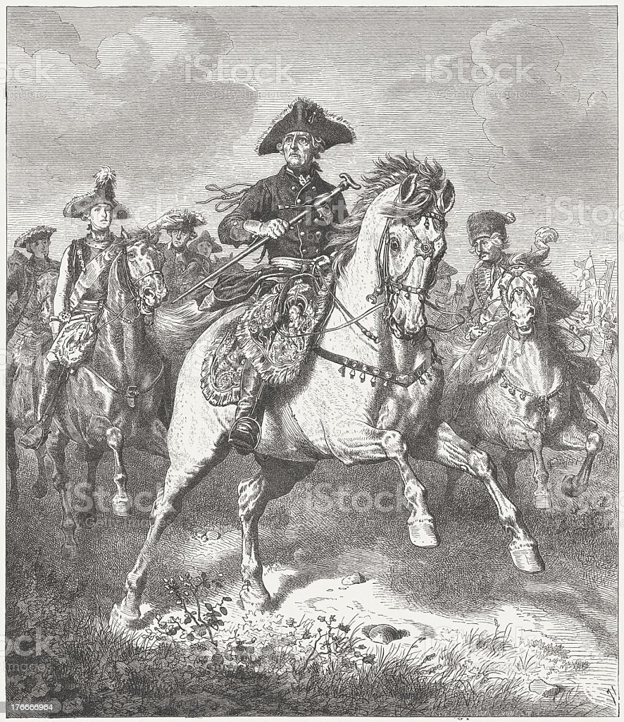 Frederick II (Frederick the Great, 1712-1786), wood engraving, published 1871 royalty-free frederick ii wood engraving published 1871 stock vector art & more images of brandenburg state