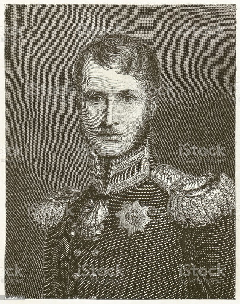 Frederick William III (1770-1840), Prussian king, wood engraving, published 1881 royalty-free stock vector art