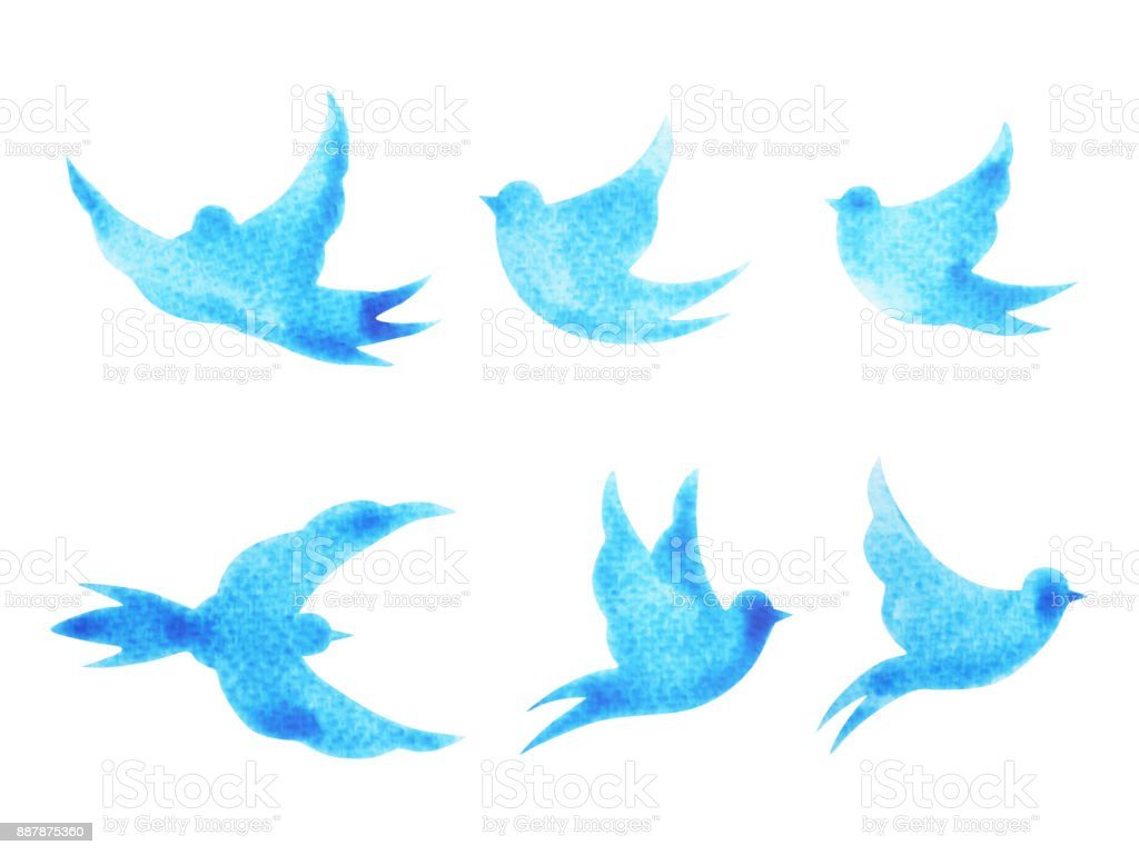 free birds flying pattern minimal watercolor painting hand drawn design illustration with clipping path vector art illustration