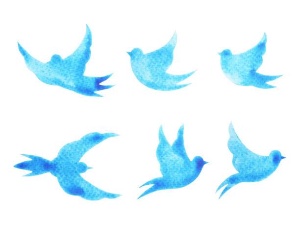 無料鳥の飛行パターン最小限水彩画手クリッピング パスで描かれた設計図 - 鳥点のイラスト素材/クリップアート素材/マンガ素材/アイコン素材