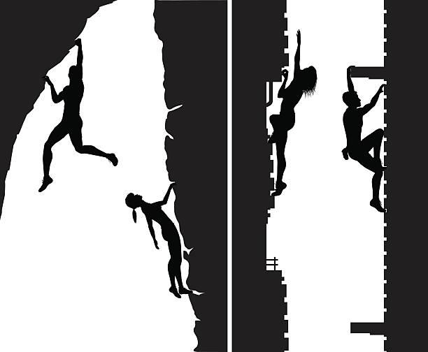 free climbers - rock climbing stock illustrations, clip art, cartoons, & icons