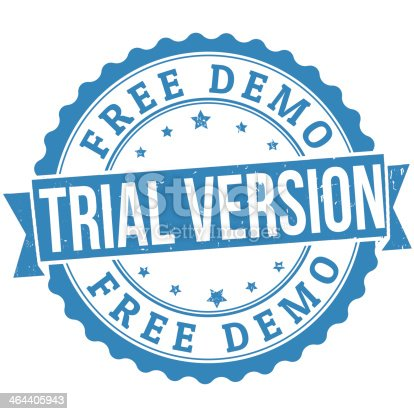 Free trial version grunge rubber stamp on white