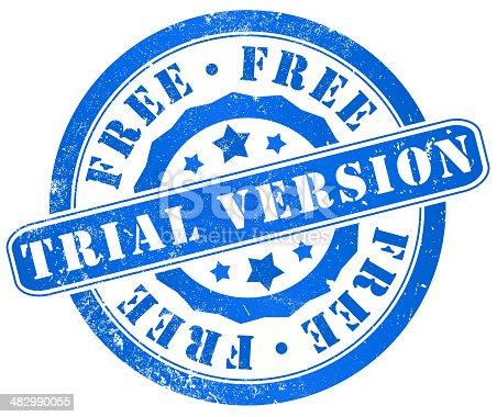 free trial version grunge stamp, in english, language