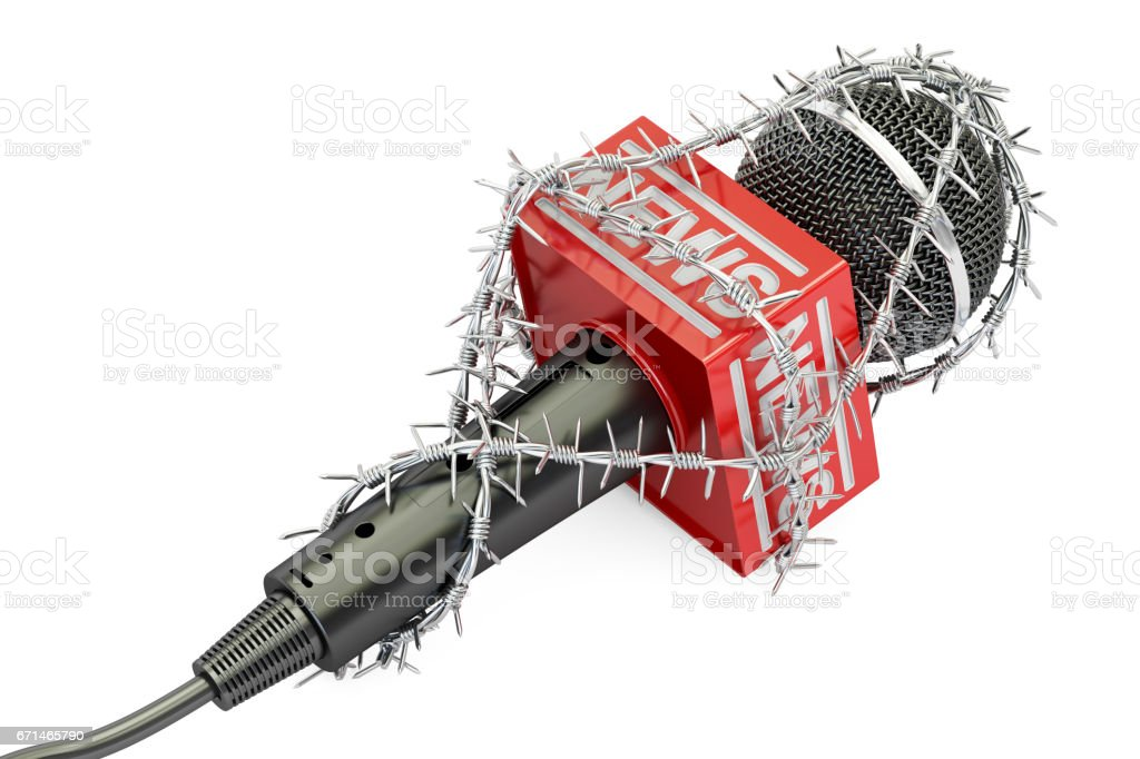 Freedom of press prohibition concept. Microphone with barbed wire, 3D rendering isolated on white background Freedom of press prohibition concept. Microphone with barbed wire, 3D rendering isolated on white background Barbed Wire stock illustration