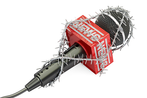 Freedom Of Press Prohibition Concept Microphone With Barbed Wire 3d Rendering Isolated On White Background Stock Illustration - Download Image Now