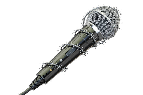 Freedom of speech and of the press prohibition concept. Microphone with barbed wire, 3D rendering vector art illustration