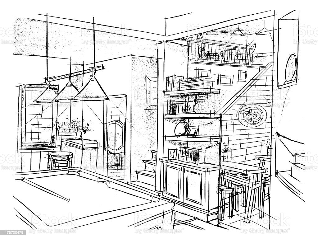 Living Room Perspective Interior Design Drawing