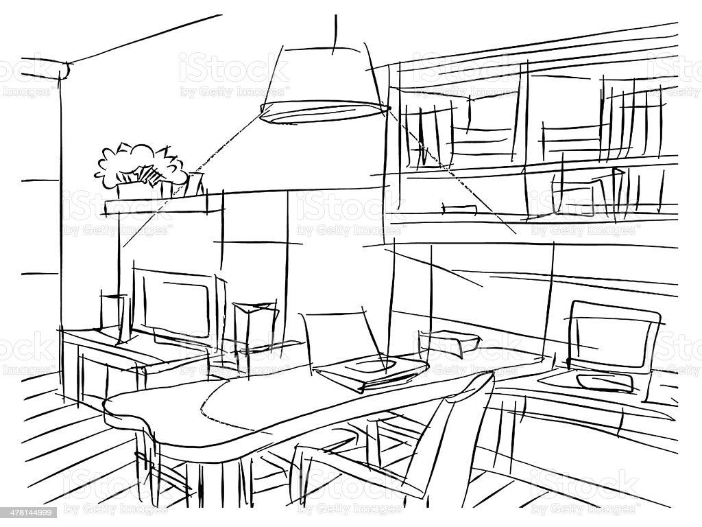 Freehand Drawing Interior Perspective Of Modern Living Room Stock ...