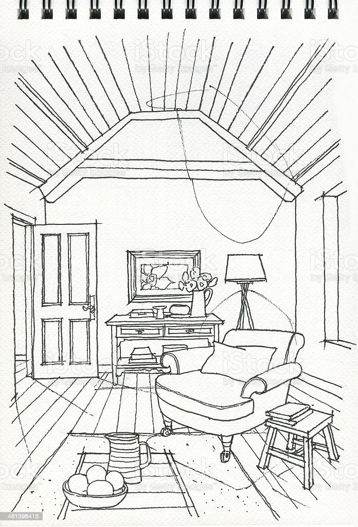 Dibujo a mano alzada de la sala de estar estilo interior for Sala de estar dibujo