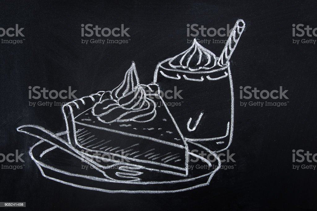 Freehand Drawing with Chalk on Blackboard of Piece of Pumpkin Pie with Whipped Cream Topping on Plate with Fork. Glass of Spice Latte. Thanksgiving Autumn Fall Dessert.Sketch Doodle Style Food vector art illustration