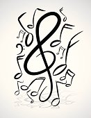 Freehand Music Notes Illustration