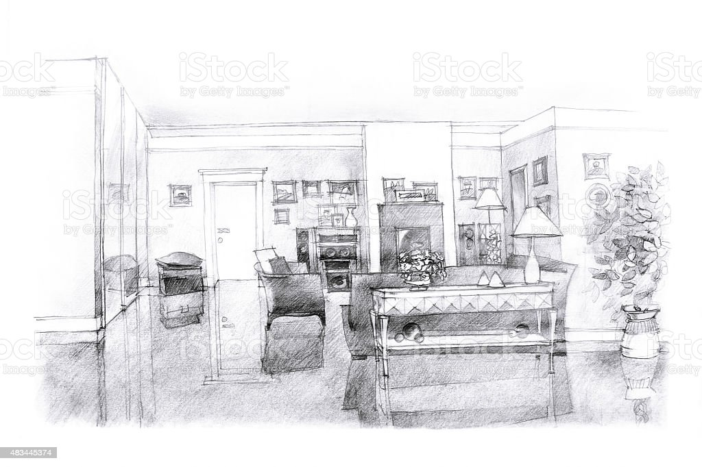 Dibujo a mano alzada de la sala de estar illustracion for Sala de estar dibujo