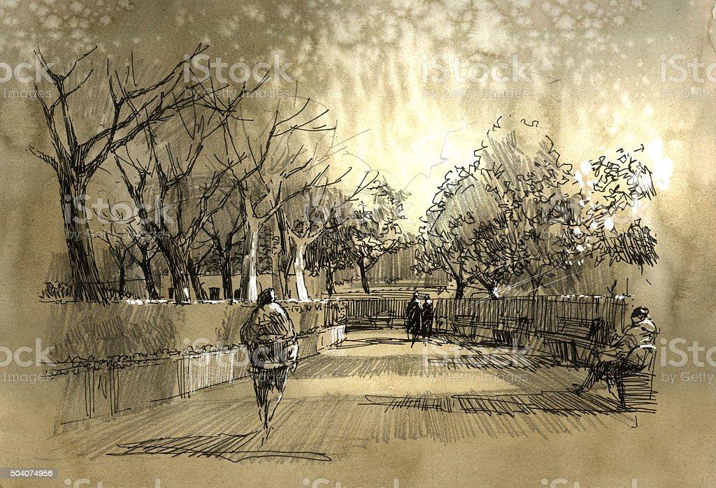 freehand sketch of city park walkway vector art illustration