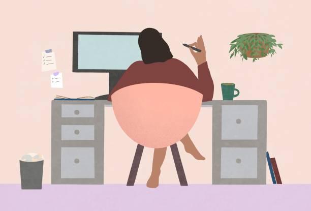 stockillustraties, clipart, cartoons en iconen met freelance illustrator die thuis werkt. - working from home