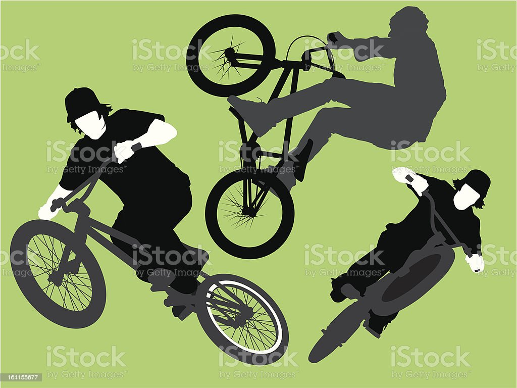 Freestyle bikers royalty-free stock vector art