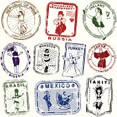 Series of stylized retro/vintage passport style dance stamps from different parts of the world.
