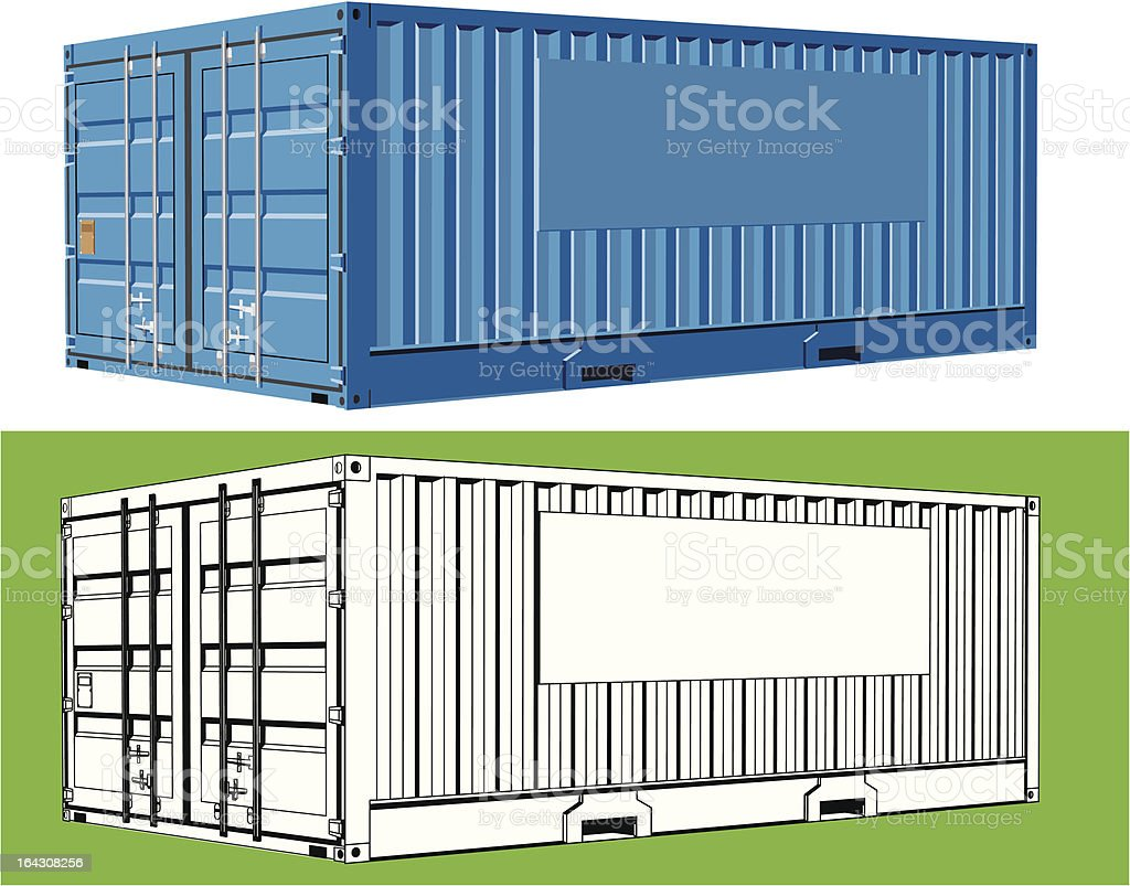 Freight Container with space for company logo vector art illustration
