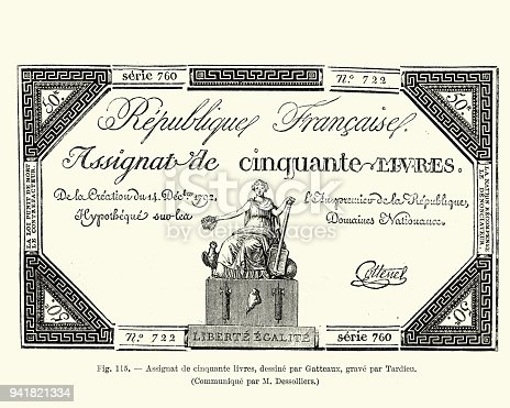 istock French bank note, Assignat de cinquante livres, early 19th Century 941821334