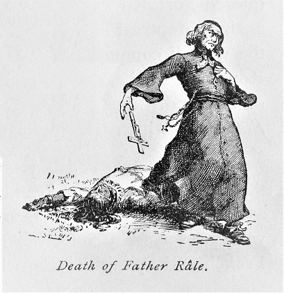 Catholic priest, Father Rale, was killed and his village burned in the early 1700s because he converted and taught Native Americans. Illustration published in The New Eclectic History of the United States by M. E. Thalheimer (American Book Company; New York, Cincinnati, and Chicago) in 1881 and 1890. Copyright expired; artwork is in Public Domain.