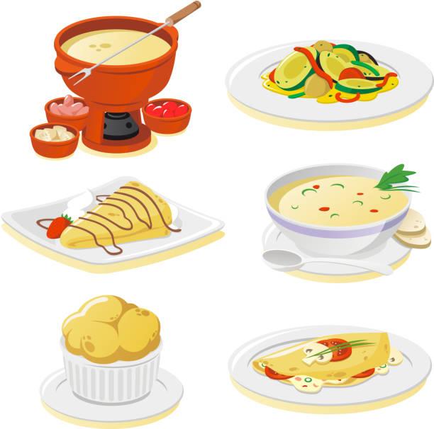 Französische Gerichte – Vektorgrafik