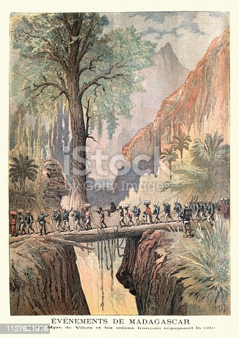 Vintage engraving of Charles Le Myre de Vilers and French settlers regaining the coast, Madagascar, 1895, 19th Century